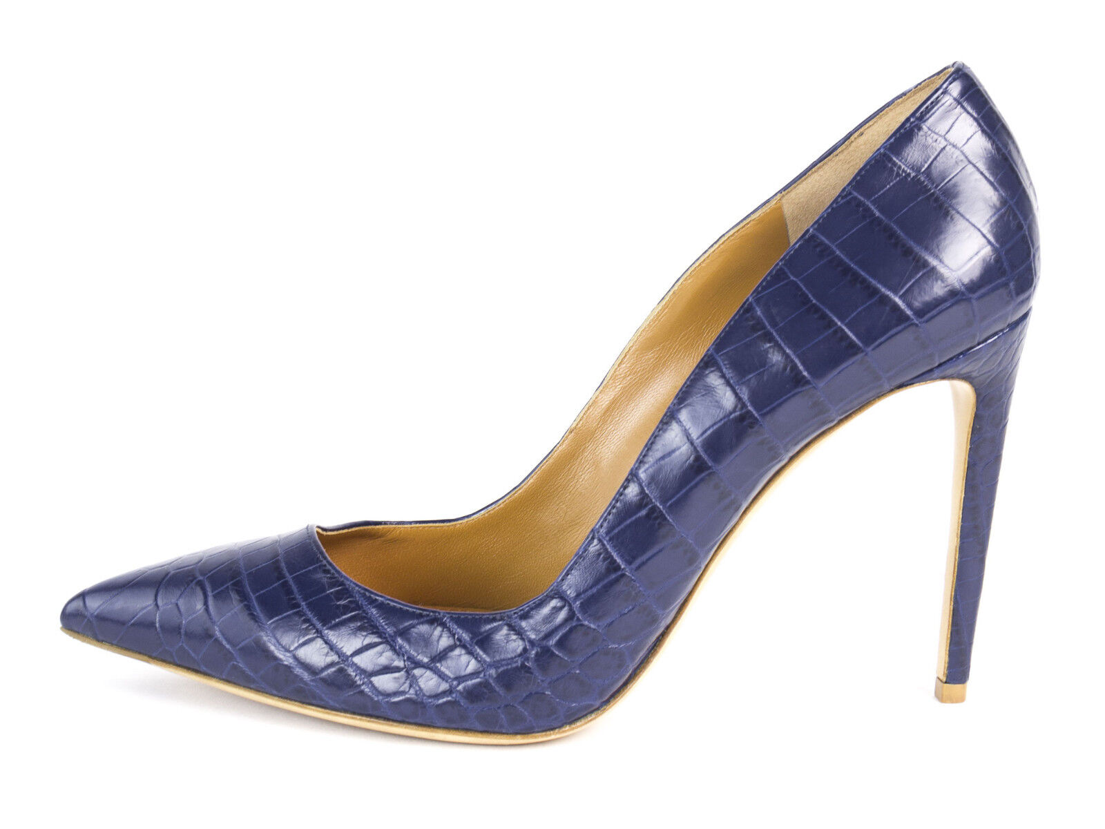 Ralph Lauren Lila Label Celia Marineblau Alligator Pumps Sz 10 Neu