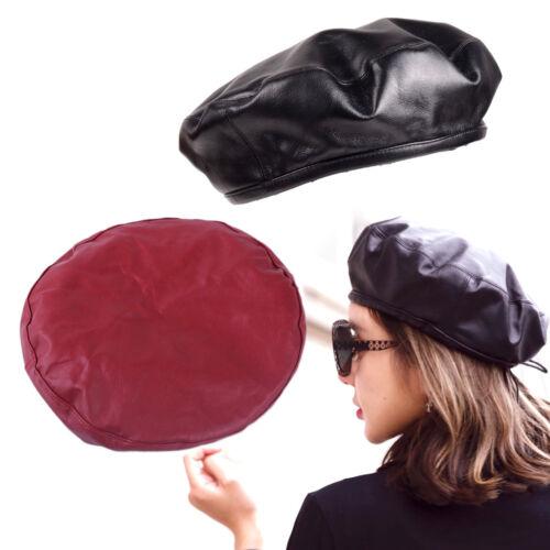 Damen Barett Beret Ledermütze Baskenmütze Kunstleder Ledermütze Mädchen Cap Hut