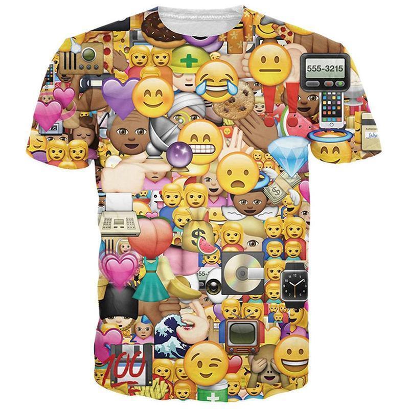 Stylish 100 Emoji 3D Prints Mens/Womens Funny Costume Crew T-Shirts Hiphop