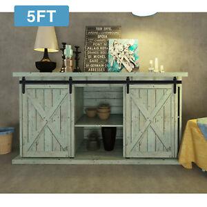 5FT-Steel-Sliding-Barn-Wood-Double-Doors-Cabinet-Closet-Hardware-Track-Kit-Set