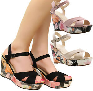 cc09fe89ac1 Image is loading Ladies-Womens-Ankle-Straps-Heels-Floral-Print-Wedges-