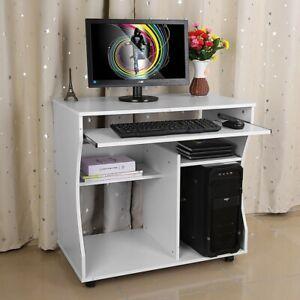 Computertisch Schreibtisch Bürotisch Laptoptisch Arbeitstisch mit Ablage Rollen