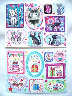 *Zauberhafte*Sticker&Postkarte*Happy Birthday&cakes*Lovely Cats&Katzen*10 x15cm