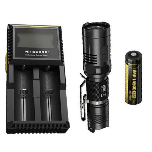 Nitecore MT10A Flashlight w Nitecore D2 Charger & IMR 14500 Battery