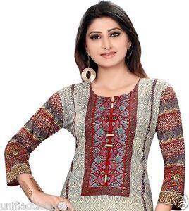 UK-STOCK-Women-Indian-Pakistani-Printed-Cotton-Kurti-Tunic-Kurta-Top-Shirt-374