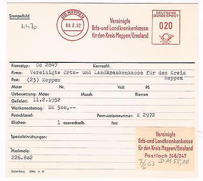 Dynamisch Meppen Emsland 1952 Krankenkasse Für Den Kreis Meppen Afs Archivkarte Unikat Reines Und Mildes Aroma