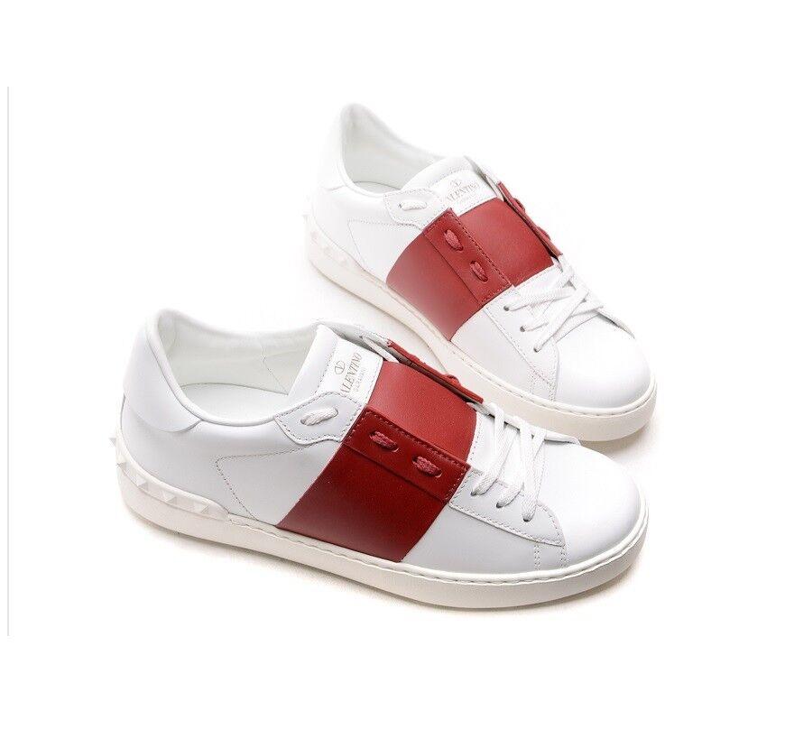 100% Authentic Valentino Open Low Top Rock Stud Scarpe da Ginnastica Shoes bianca/Rosso Italy