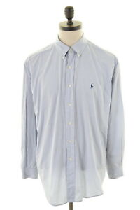 Mens Large Ralph Check Cotton Shirt White Yarmouth Lauren Blue Polo wEUCqOIxq