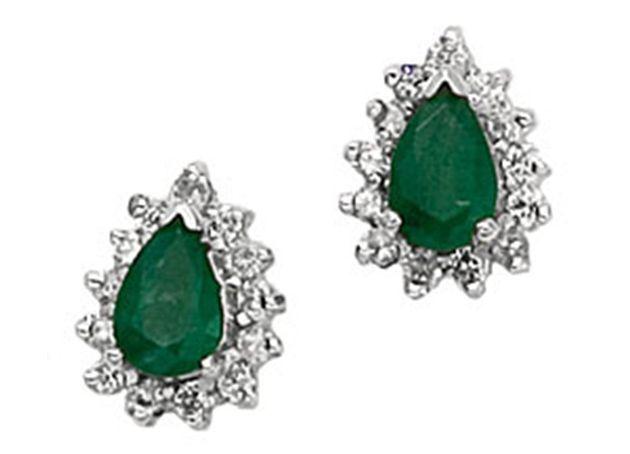 14K Natural Emerald Pear Shape and Diamond SI Clarity Earrings