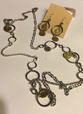 """Silpada $248 Sterling Silver Brass 38"""" Necklace N2150 & Earrings W2060 SET"""