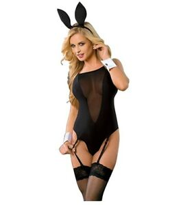 dbca8a7d1 Image is loading Bunny-Costume-Sexy-Mesh-Lingerie-Set-Garters-Matching-