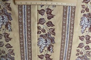 """Antiques French Antique C1840-50 Cotton Lilac Stripe Hand Blocked Fabric Panel~82""""x27""""*"""