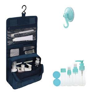 Kit completo beauty case borsa porta cosmetici da viaggio flaconi e boccette 9pz