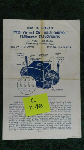 LIONEL TYPE VW /& ZW TRANSFORMER 250-275 WATTS INSTRUCTIONS ORIGINAL