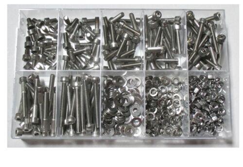 Sortiment -Zylinderschrauben mit Innensechskant DIN 912 M1,6 Edelstahl 500 Teile