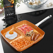 3-in-1 Copper Frying Pan Non Stick Divider Ceramic Fry Cookware Set Breakfast