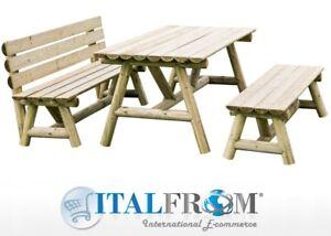 Dettagli su Tavolo da Giardino e Due Panche in Legno di Pino Impregnato per Parco Pic Nic