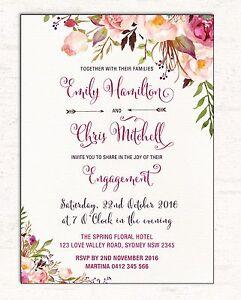 Engagement Invitation Bohemian Boho Floral Wedding Invite High Tea