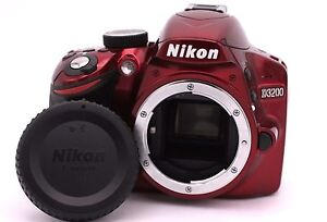 Nikon-D-D3200-24-2mp-Camara-SLR-Digital-rojo-solo-carcasa-Contador-de
