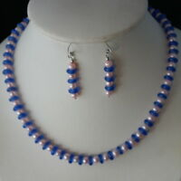 Beautiful Necklace Set With Pink Pearls And Murano 16 Inches Long + Earrings