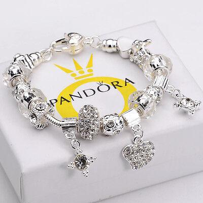 Fashion Jewelry Vintage 925 Silver Bracelet White Agate Heart Pendant Bangle
