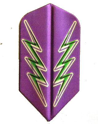Dart Flights - 1 Purple, Green Lightning Bolt Slim Set