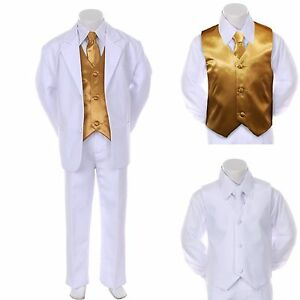 Boy Teen Formal Wedding Party Prom Church White Suit Tuxedo   Gold ...