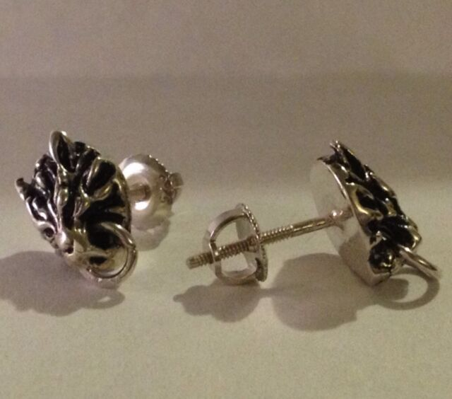 Final Fantasy Vii Ff 7 Cloud Strife Wolf Earrings Sterling Silver 925 Cosplay