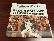 SAN FRANCISCO GIANTS 2014 NLCS CHAMPS 2 COPIES LEFT CHRONICLE NEWSPAPER 10/17/14