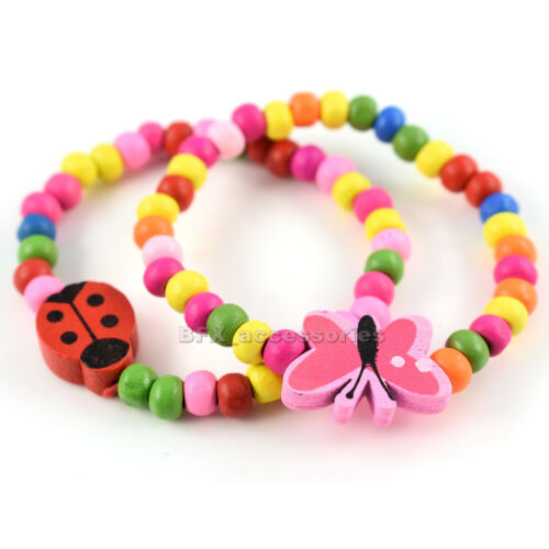 GIRLS BRACELET beaded butterfly ladybug ladybird bear Kids children stretch NEW