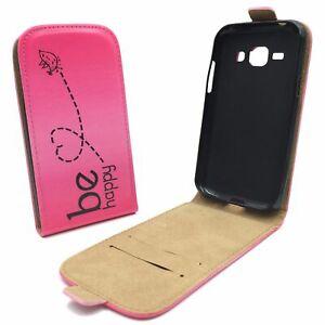 Samsung-Galaxy-J1-Cellulare-Custodia-a-Flip-Protettiva-Wallet-Be-Happy-Fucsia