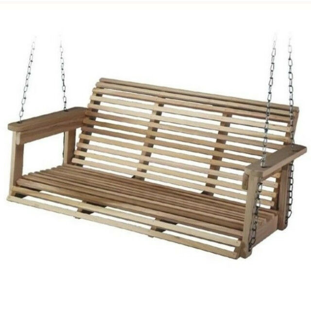 Front Porch Swing 2 Seat Outdoor Patio Deck Hanging Bench Unfinished Solid Wood