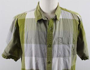 NEW-prAna-Organic-Cotton-Short-Sleeve-Button-Up-Shirt-MENS-XL-Green-Plaid
