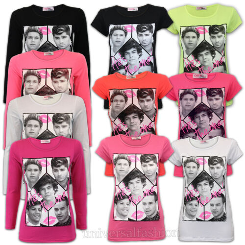Girls T Shirt One Direction Top He/'s The One Slogan Print Fashion Summer Casual