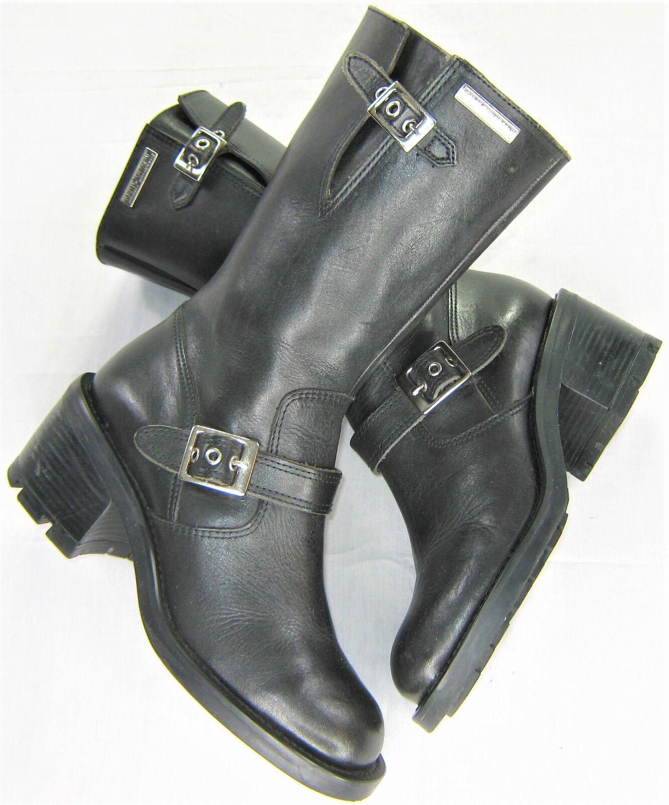 Damenschuhe harley davidson Leder Stiefel 6 schwarz zip up up up mid calf 2.5