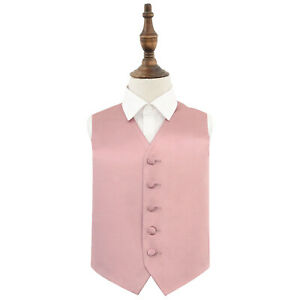 Dusty-Pink-Boys-Waistcoat-Satin-Plain-Solid-Formal-Wedding-Suit-All-Sizes-by-DQT
