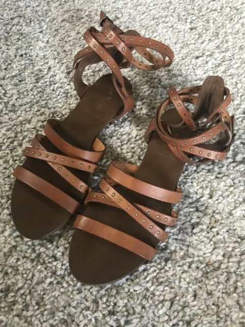 NEW J. CREW Brown Leather Gladiator Strappy Sandals Size 7
