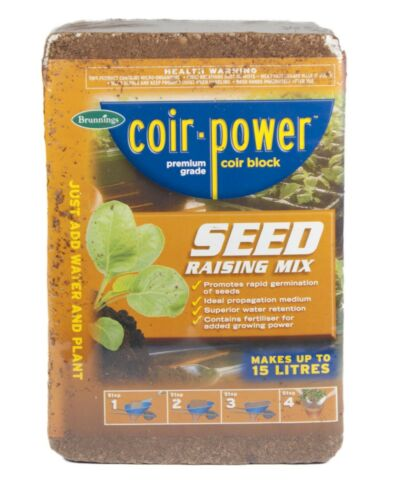 Seed Raising Mix Coir Block 15L Brunnings Coco Coconut Husk Water Retention