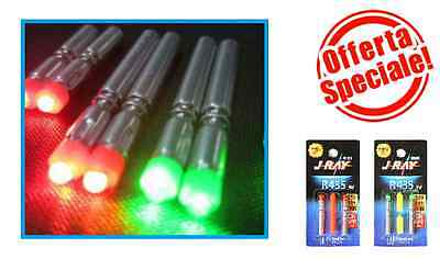 2 STARLIGHT LED LIGHT elettronico STICK BATTERY 4mmX35mm pesca j-ray DUE COLORI