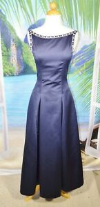 B2 Navy Blue Formal Long Dress 4 Beaded Trim at Neckline and Shoulders Lined