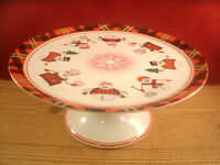Pedestal Cake Stand Dylan Designs Christmas Holiday Snowman Red White
