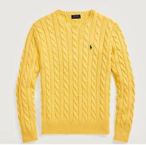 Nwt Polo Ralph Lauren Men S Yellow Cable Knit Crew Neck Sweater Navy Pony Sz Med Ebay