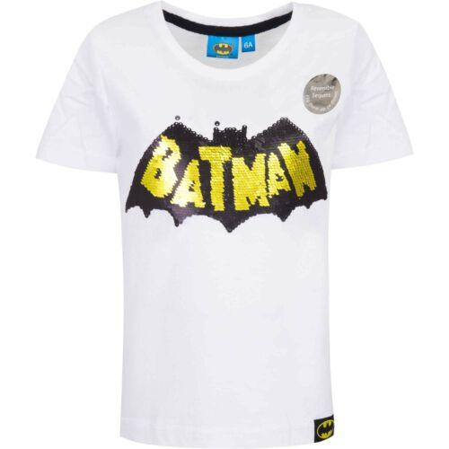 Enfants garçons à manches courtes T-shirt à encolure ras-du-cou Sous Licence Batman REVERIBLE paillettes