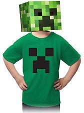 Authentic Minecraft Kids Creeper T Shirt 100% Cotton, Irish Green Size Large