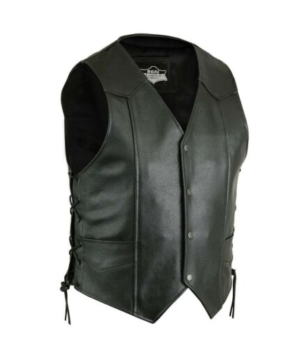 Mens Leather Waistcoat Motorcycle Black Leather Side Laced Up Biker Vest