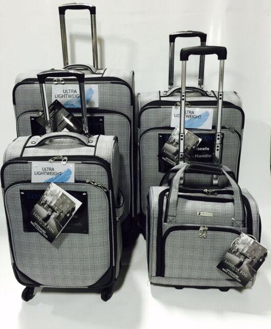 London Fog Devonshire 4pc Light Luggage Set Expandable Brown Menswear Plaid For Sale Online Ebay