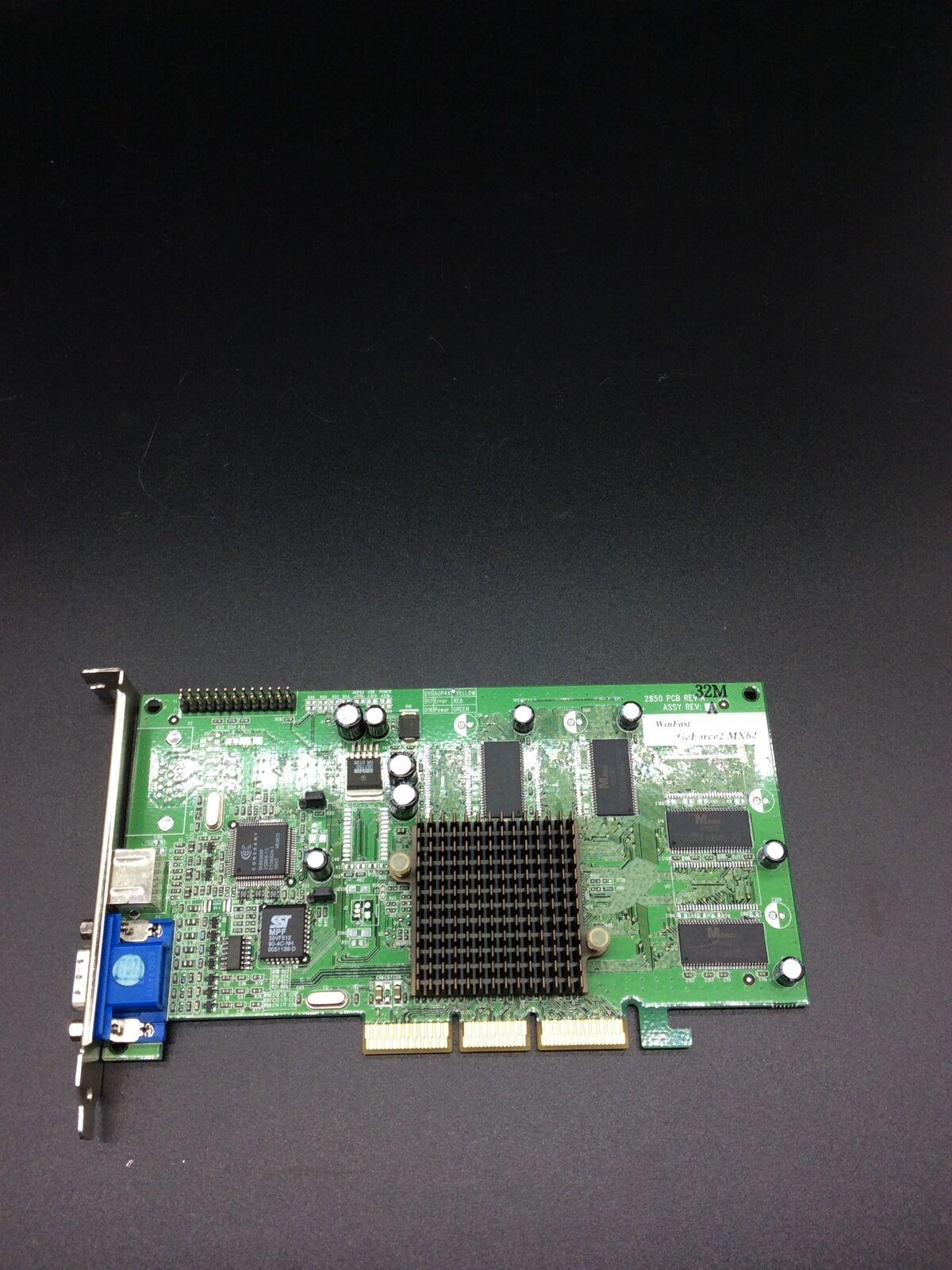 Winfast 2850 PCB REV A GeForce2 MX64 TV Out Graphics Card
