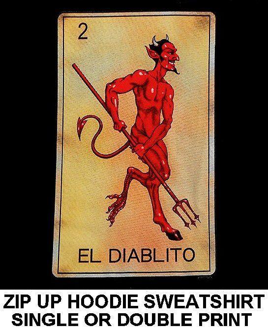 EL DIABLITO TAROT CARD DEATH TRIDENT SATAN DEVIL SKULL ZIP HOODIE SWEATSHIRT 633