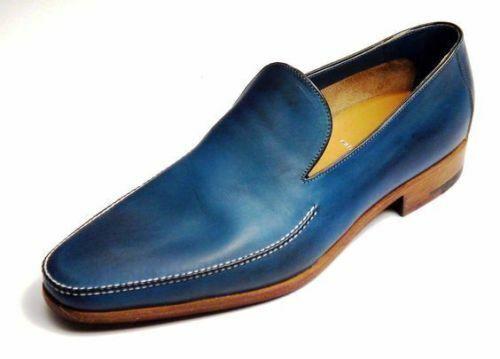 Zapatos para hombre casual de azul genuino cuero hecha a mano Vestido Formal Sin Cordones Mocasín