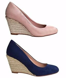 fcc75f9ea10 Image is loading Ex-Store-Ladies-Suede-Patent-Summer-Wedge-Espadrille-